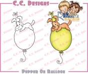 PEPPER ON BALLOON Rubber Stamp Roberto's Rascals Collection from C.C. Designs