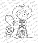 COWBOY WITH DOG Rubber Stamp from The Paper Nest Dolls