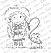 COWGIRL ELLIE WITH PIGGY Rubber Stamp from The Paper Nest Dolls