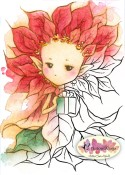 POINSETTIA SPRITE Rubber Stamp Aurora Wings Mitzi Sato-Wiuff Collection from Sweet Pea Stamps
