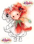 POPPY SPRITE Rubber Stamp Aurora Wings Mitzi Sato-Wiuff Collection from Sweet Pea Stamps