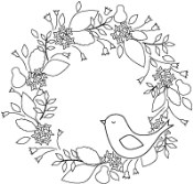 BIRDIE WREATH Cling Rubber Stamp from Poppystamps
