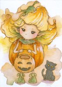PUMPKIN SPRITE Rubber Stamp Aurora Wings Mitzi Sato-Wiuff Collection from Sweet Pea Stamps
