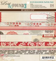 LOST & FOUND 3 RUBY 6x6 Scrapbook Patterened Paper Pack from My Mind's Eye