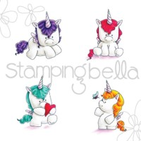 SET OF UNICORNS Cling Mounted Rubber Stamp Set from Stamping Bella