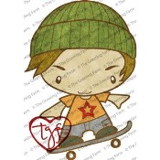 SKATER IAN Rubber Stamp Anya & Ian Collection from The Greeting Farm