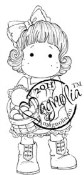 TILDA HOLDING EGG BASKET Rubber Stamp Butterfly Dreams Collection from Magnolia