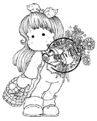 TILDA WITH DAISYS AND MUSHROOMS Rubber Stamp Turning Leaves Collection from Magnolia