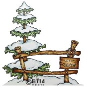**PREORDER** TREE WITH FENCE Rubber Stamp from Bildmalarna