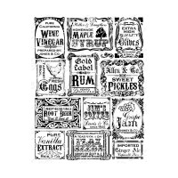 VINTAGE BOTTLE LABELS Rubber Stamp from the Whimsy Stamps Sentiments Collection