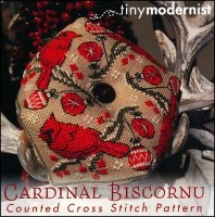 CARDINAL BISCORNU Cross Stitch Pattern from Tiny Modernist