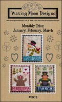 Monthly Trio Series - JANUARY, FEBRUARY, MARCH Counted Cross Stitch Pattern from Waxing Moon Designs