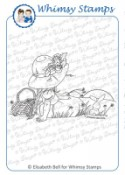 SUNSET ROSE Rubber Stamp Little Cottage Cuties Collection by Elisabeth Bell from Whimsy Stamps