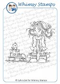 HEIDI WITH SLEDGE Rubber Stamp Wee Stamps Collection from Whimsy Stamps