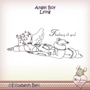 ANGEL BOY LYING Rubber Stamp Elisabeth Bell Guardian Angels Collection from Whiff of Joy