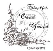 FALL CORNER WITH SENTIMENTS Rubber Stamp Elisabeth Bell Collection from Whiff of Joy