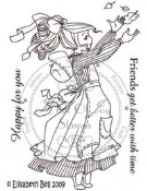 FALL WILLOW CATCHING LEAVES Rubber Stamp Elisabeth Bell Collection from Whiff of Joy