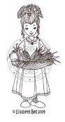FALL WILLOW HOLDING CORN BASKET Rubber Stamp Elisabeth Bell Collection from Whiff of Joy