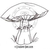 LARGE MUSHROOM Rubber Stamp Elisabeth Bell Collection from Whiff of Joy