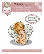 GRIEVING CHERUB Rubber Stamp Elisabeth Bell Sympathy Collection from Whiff of Joy
