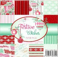 FESTIVE WISHES 6x6 Scrapbook Patterned Paper Pack from Wild Rose Studio